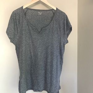 Madewell Choral Gray Split Neck Tee Top M